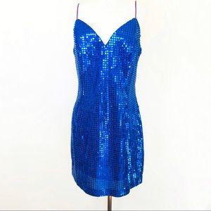 Vtg 80s Roberta Blue Sequined Mini Cocktail Dress